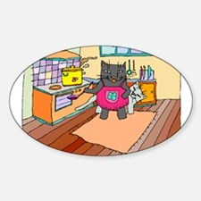 Cat Chef Oval Decal