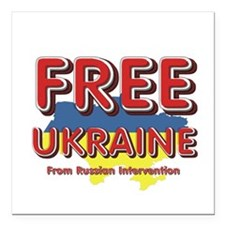 "Free Ukraine Square Car Magnet 3"" x 3"""