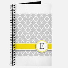 Letter E grey quatrefoil monogram Journal