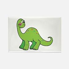 Cute Green Brontosaurus Dinosaur Rectangle Magnet