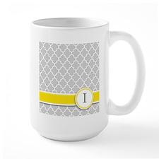 Letter I grey quatrefoil monogram Mugs