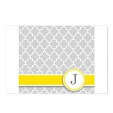 Letter J grey quatrefoil monogram Postcards (Packa