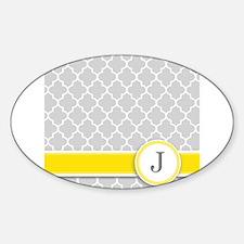 Letter J grey quatrefoil monogram Decal