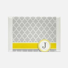 Letter J grey quatrefoil monogram Magnets
