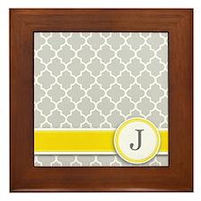 Letter J grey quatrefoil monogram Framed Tile