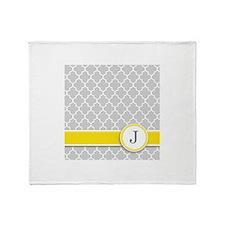 Letter J grey quatrefoil monogram Throw Blanket