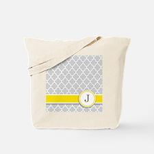 Letter J grey quatrefoil monogram Tote Bag