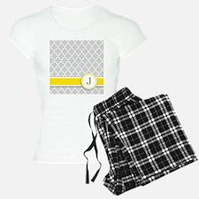 Letter J grey quatrefoil monogram Pajamas