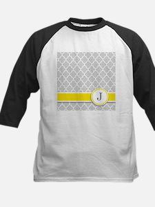 Letter J grey quatrefoil monogram Baseball Jersey