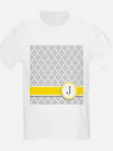 Letter J grey quatrefoil monogram T-Shirt
