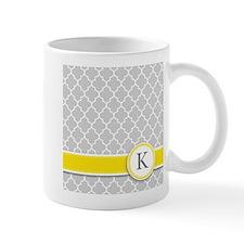 Letter K grey quatrefoil monogram Mugs