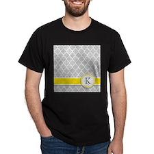 Letter K grey quatrefoil monogram T-Shirt