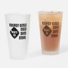 Hockey Girl Drinking Glass