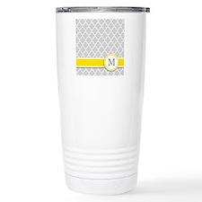 Letter M grey quatrefoil monogram Travel Mug