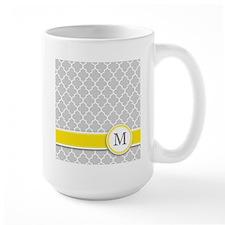 Letter M grey quatrefoil monogram Mugs