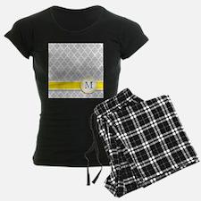 Letter M grey quatrefoil monogram Pajamas