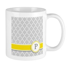 Letter P grey quatrefoil monogram Mugs