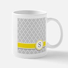 Letter S grey quatrefoil monogram Mugs