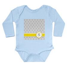 Letter S grey quatrefoil monogram Body Suit