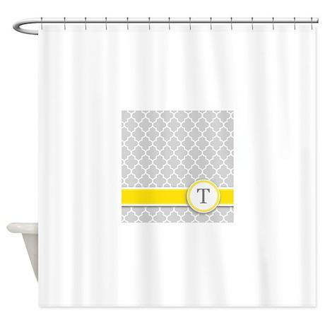 Letter T grey quatrefoil monogram Shower Curtain by Admin