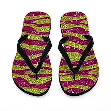 Glitters Yellow Pink Zebra Stripes Flip Flops