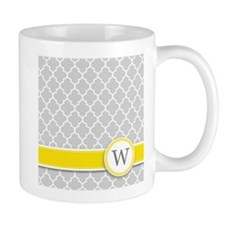 Letter W grey quatrefoil monogram Mugs