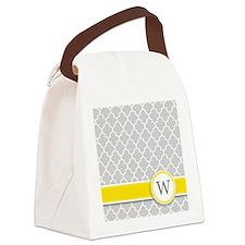 Letter W grey quatrefoil monogram Canvas Lunch Bag