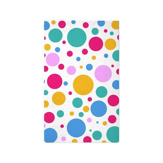 Colorful Polka Dots 3'X5' Area Rug By CreativeJoy