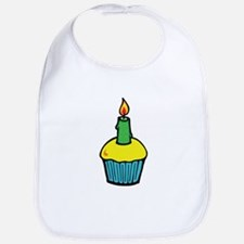 Cute Birthday Cupcake with Candle Bib