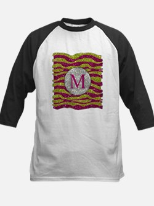 Monogram Glitters Yellow Pink Zebra Stripes Baseba