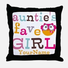 Personalized Aunties Favorite Girl Throw Pillow