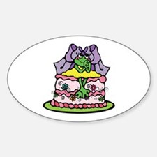 Country Style Birthday Cake Froggy Oval Decal