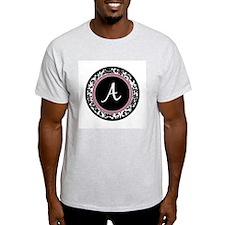 Letter A girly black monogram T-Shirt