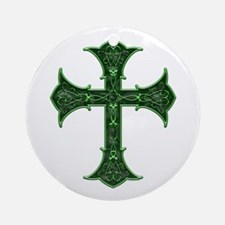 Emerald Cross Ornament (Round)
