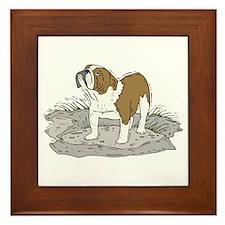 English Bulldog Framed Tile