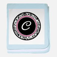 Letter C girly black monogram baby blanket
