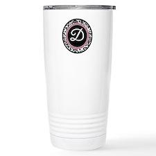 Letter D girly black monogram Travel Mug