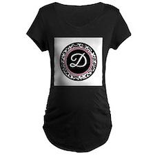 Letter D girly black monogram Maternity T-Shirt