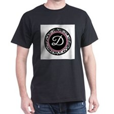 Letter D girly black monogram T-Shirt