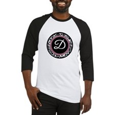 Letter D girly black monogram Baseball Jersey