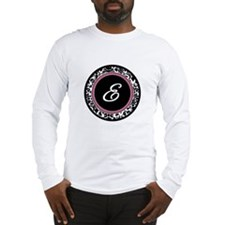 Letter E girly black monogram Long Sleeve T-Shirt