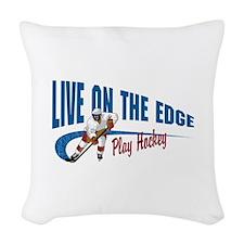 Hockey Player Woven Throw Pillow