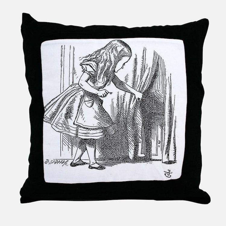 Vintage Alice in Wonderland 'looking  Throw Pillow