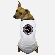 Letter H girly black monogram Dog T-Shirt