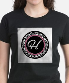 Letter H girly black monogram T-Shirt