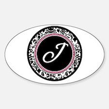 Letter J girly black monogram Decal