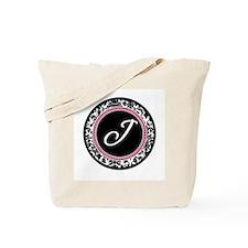 Letter J girly black monogram Tote Bag