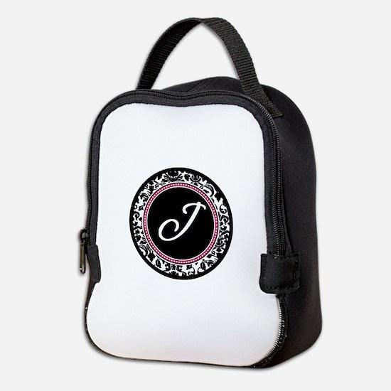 Letter J girly black monogram Neoprene Lunch Bag