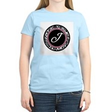 Letter J girly black monogram T-Shirt