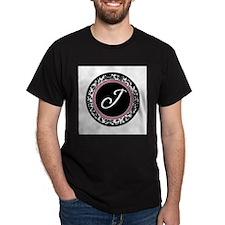 Letter J girly black monogram T-Shirt